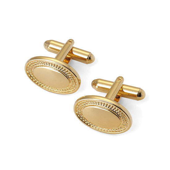 Gold Plated Engraved Edge Oval Cufflinks from Aspinal of London