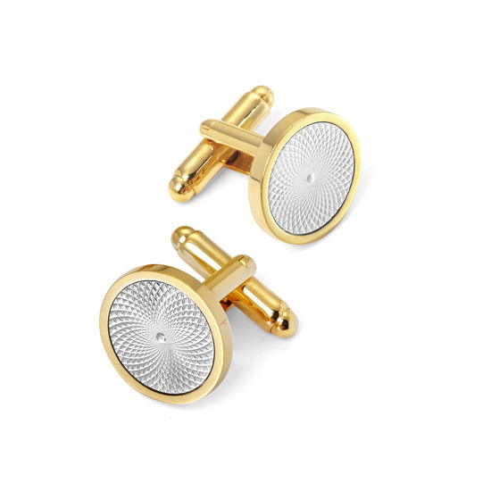 Gold Plated with Sterling Silver Plated Engraved Centre Round Cufflinks from Aspinal of London