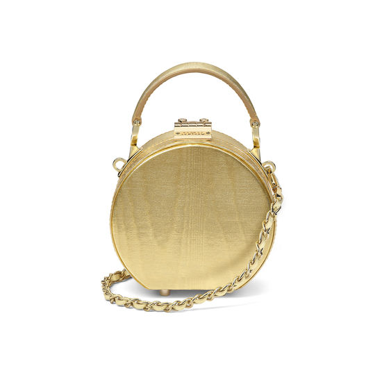 Giles x Aspinal (Micro Hat Box - Gold Moiré) from Aspinal of London