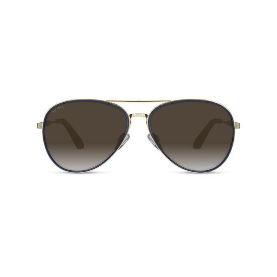 670347262 Portofino Sunglasses (Gold Metal & Blue Acetate) from Aspinal of London ...