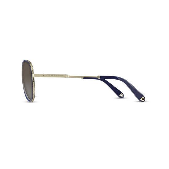 Portofino Sunglasses (Gold Metal & Blue Acetate) from Aspinal of London