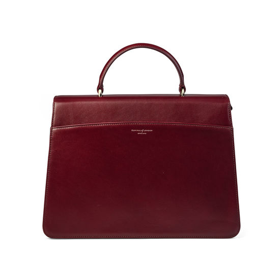 Large Lion Lansdowne Bag in Smooth Claret from Aspinal of London