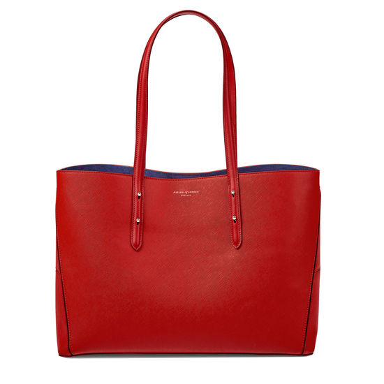 Regent Tote in Scarlet Saffiano (with A-Stitched Side Panels) from Aspinal of London
