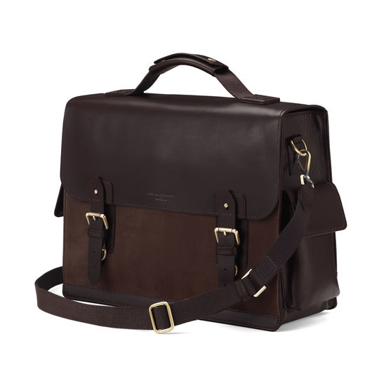 Shadow Briefcase in Brown Nubuck from Aspinal of London