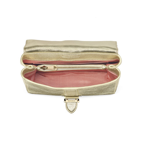 Small Lottie Bag in Pale Gold Pebble from Aspinal of London