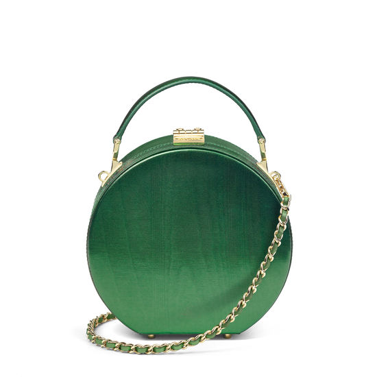Giles x Aspinal (Mini Hat Box - Green Moiré) from Aspinal of London