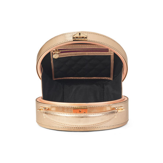 Giles x Aspinal (Mini Hat Box - Rose Gold Moiré) from Aspinal of London