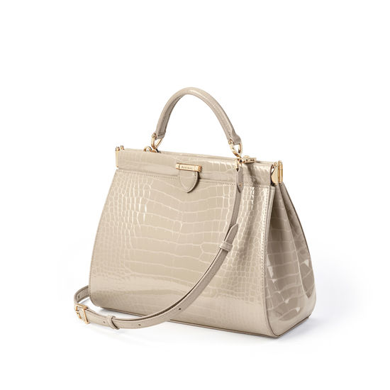 Small Florence Frame Bag in Soft Taupe Patent Croc from Aspinal of London
