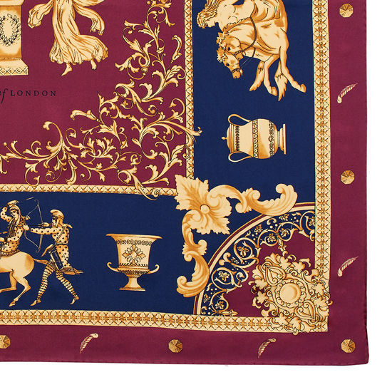 Roman Silk Scarf in Bordeaux from Aspinal of London