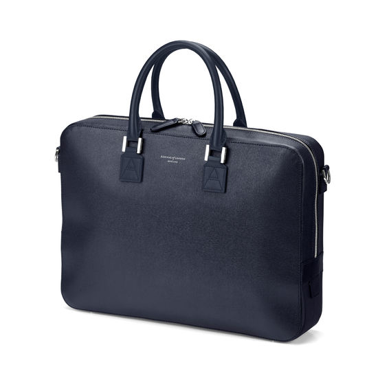 Small Mount Street Laptop Bag in Navy Saffiano from Aspinal of London