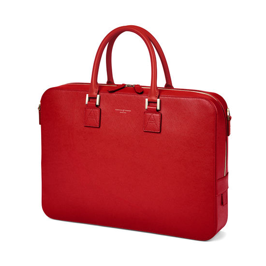 Small Mount Street Laptop Bag in Scarlet Saffiano from Aspinal of London