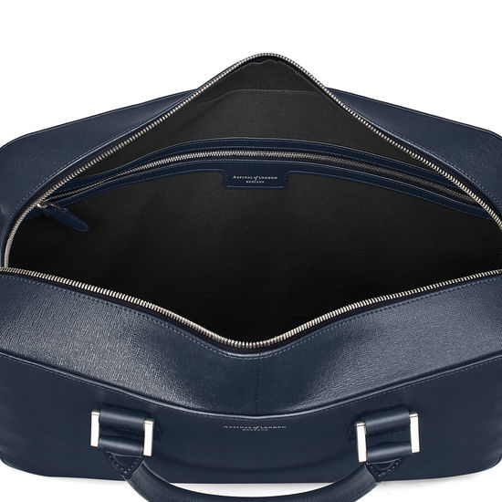Large Mount Street Laptop Bag in Navy Saffiano from Aspinal of London