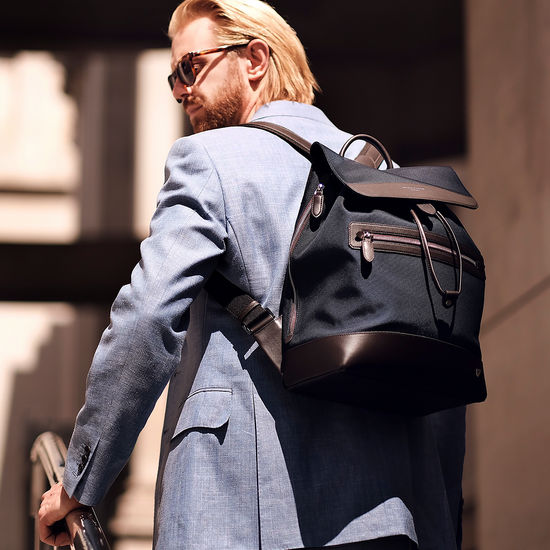 Anderson Backpack in Navy Nylon & Smooth Chocolate Leather Trim from Aspinal of London