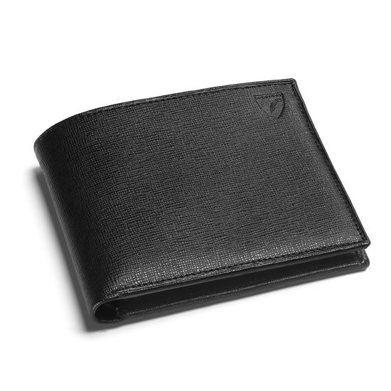 8 Card Billfold Wallet in Black Saffiano & Black Suede from Aspinal of London