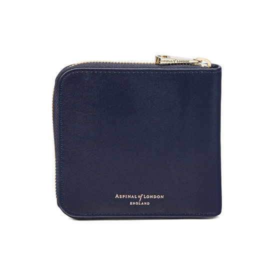 Mount Street Zip Around Wallet in Smooth Navy from Aspinal of London
