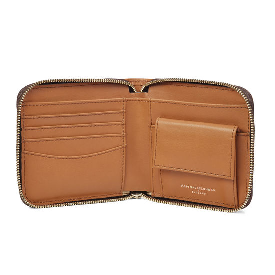Mount Street Zip Around Wallet in Smooth Tan from Aspinal of London