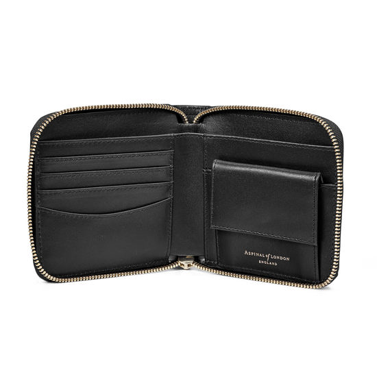 Mount Street Zip Around Wallet in Smooth Black from Aspinal of London
