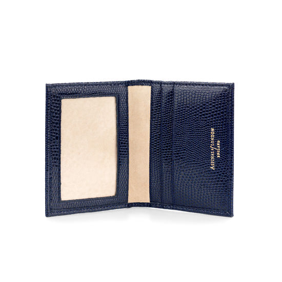 ID & Travel Card Case in Midnight Blue Lizard from Aspinal of London