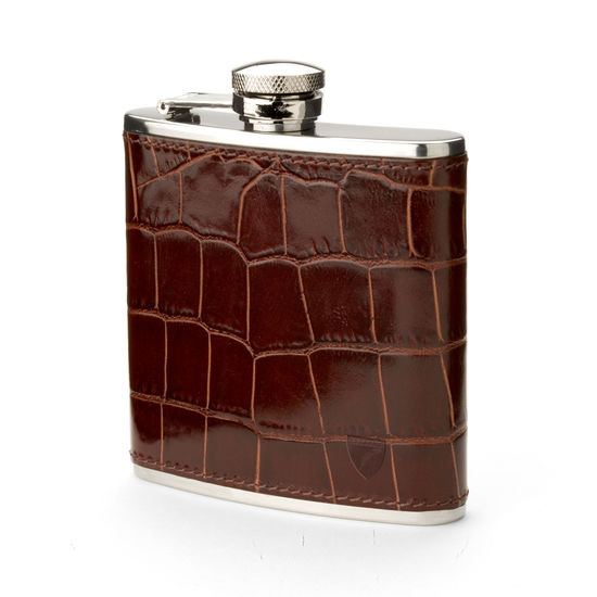 Classic 5oz Leather Hip Flask in Deep Shine Amazon Brown Croc from Aspinal of London