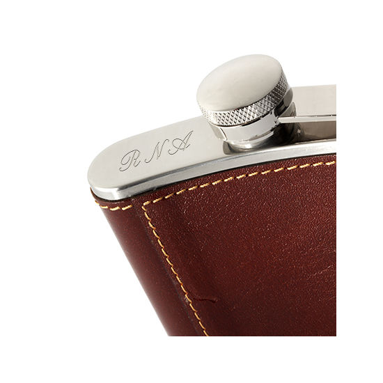 Brit 5oz Leather Hip Flask from Aspinal of London