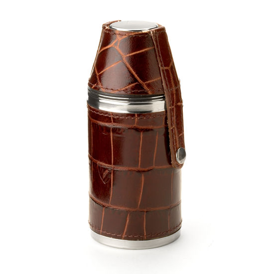 Hunter 6oz Leather Hip Flask in Deep Shine Amazon Brown Croc & Stone Suede from Aspinal of London