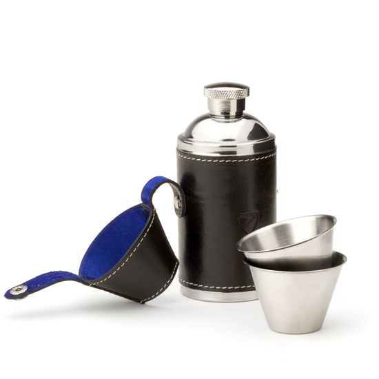 Hunter 6oz Leather Hip Flask in Smooth Black & Cobalt Suede from Aspinal of London