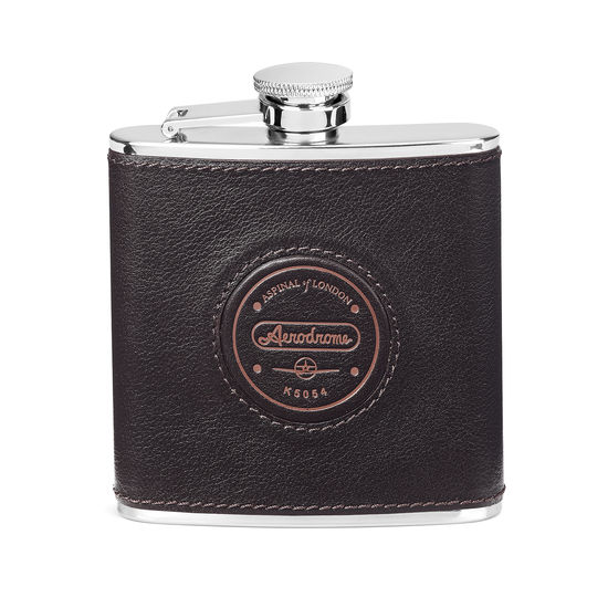 Aerodrome Classic 5oz Leather Hip Flask in Dark Brown Pebble from Aspinal of London