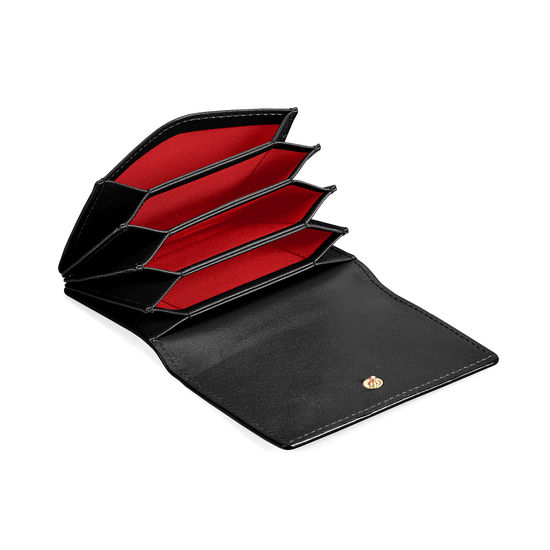 Accordion Zipped Credit Card Holder in Smooth Black from Aspinal of London