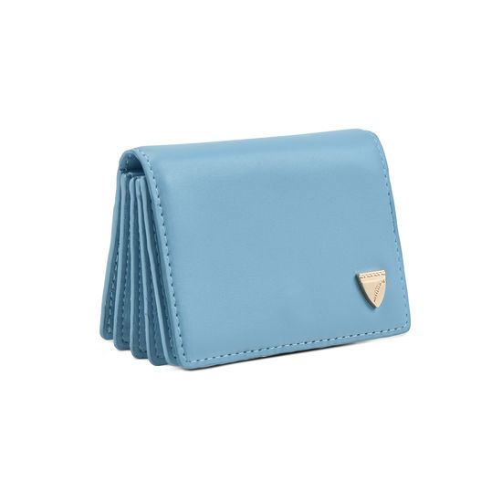 Accordion Zipped Credit Card Holder in Smooth Bluebird from Aspinal of London