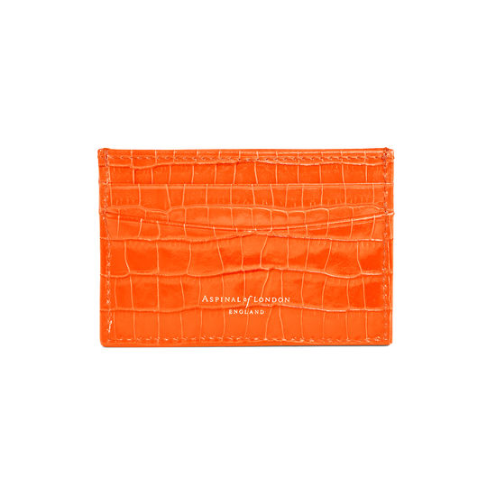 Slim Credit Card Case in Deep Shine Amber Small Croc from Aspinal of London