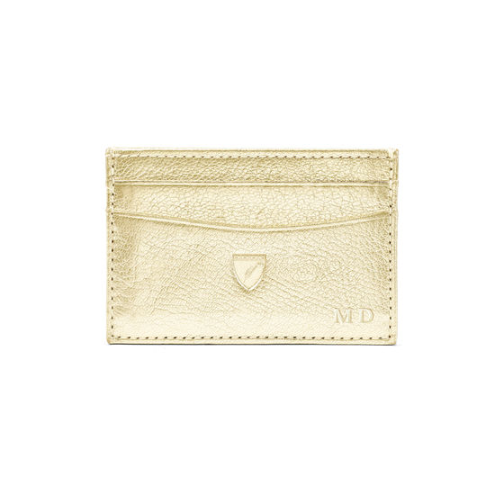 Slim Credit Card Case in Pale Gold Pebble from Aspinal of London