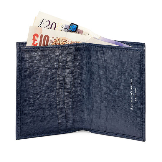 Double Credit Card Case with Notes Pocket in Navy Saffiano & Cream Suede from Aspinal of London