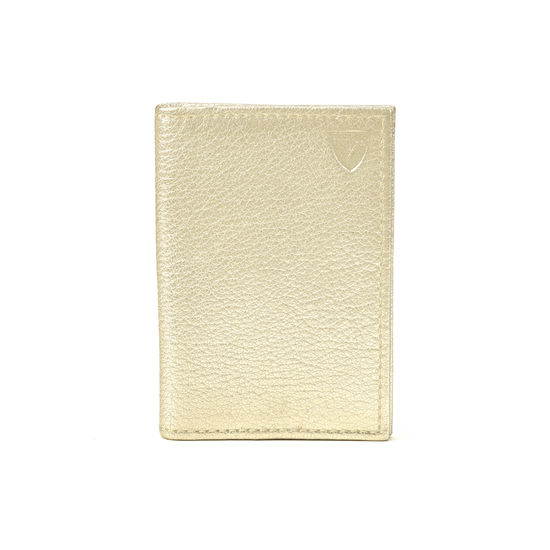 Double Fold Credit Card Case in Pale Gold Pebble from Aspinal of London
