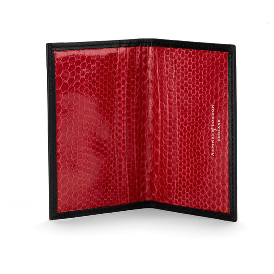 Double Credit Card Case in Black with Red Snake from Aspinal of London