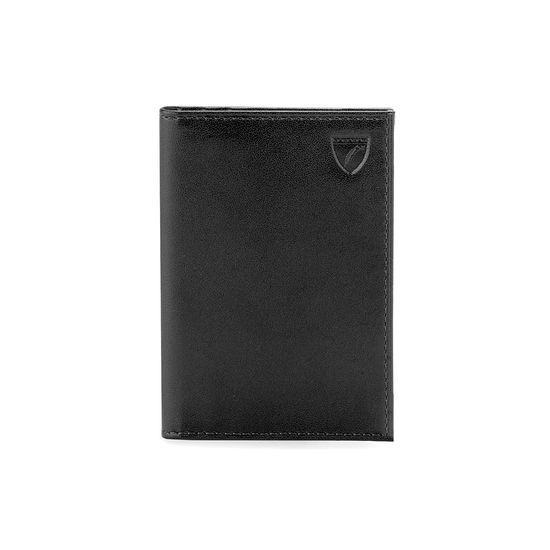 Double Fold Credit Card Case in Smooth Black from Aspinal of London