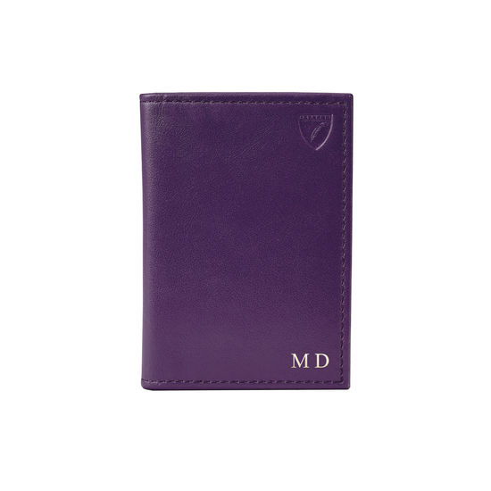 Double Fold Credit Card Case in Smooth Amethyst from Aspinal of London