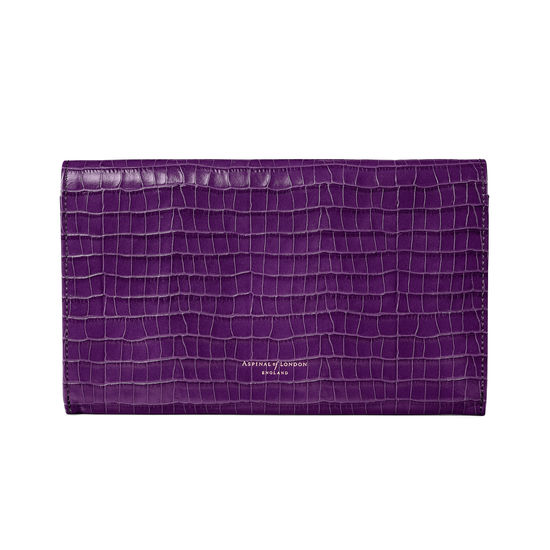 Classic Travel Wallet in Deep Shine Amethyst Small Croc from Aspinal of London