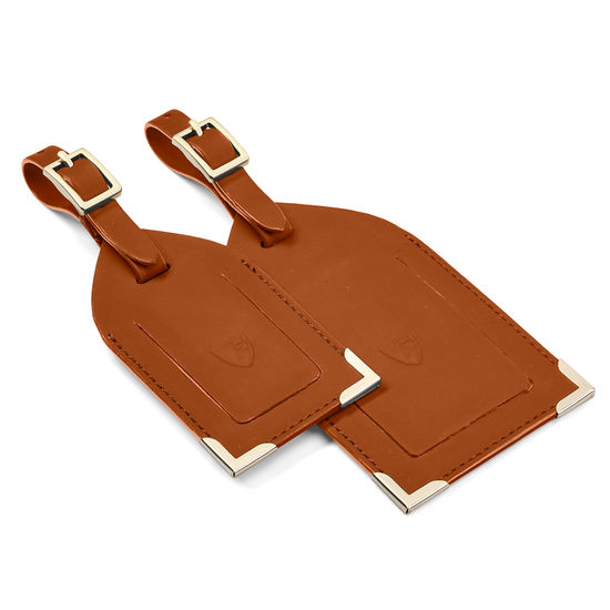 Set of 2 Luggage Tags in Tan Smooth from Aspinal of London