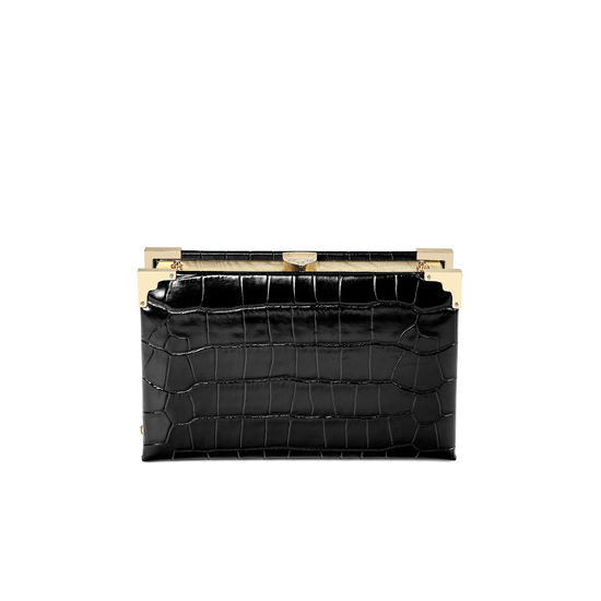 Book Clutch in Deep Shine Black Croc from Aspinal of London