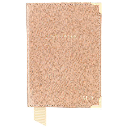 Passport Cover in Orange Lizard & Cream Suede from Aspinal of London