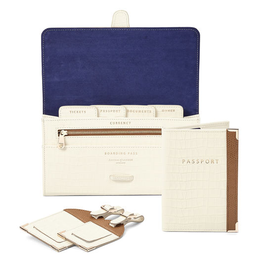 Classic Travel Collection in Ivory Small Croc & Camel Lizard from Aspinal of London