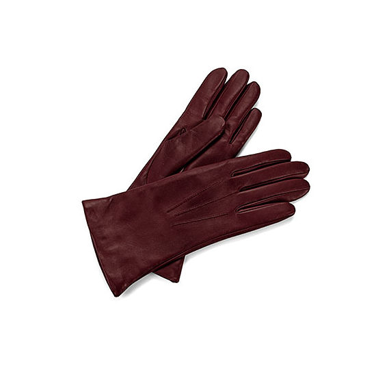 Ladies' Cashmere Lined Leather Gloves in Burgundy from Aspinal of London