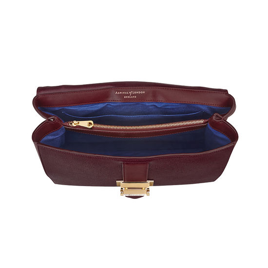 Large Lottie Bag in Burgundy Saffiano from Aspinal of London