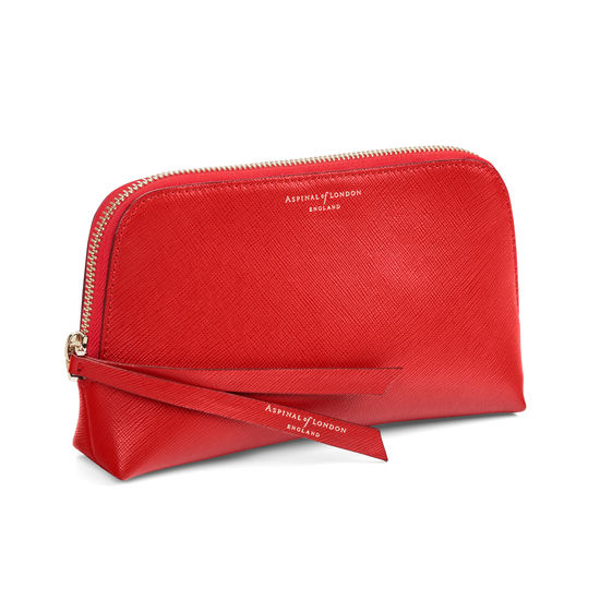 Small Essential Cosmetic Case in Scarlet Saffiano from Aspinal of London
