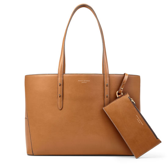 Regent Tote in Smooth Tan (with A-Stitched Side Panels) from Aspinal of London