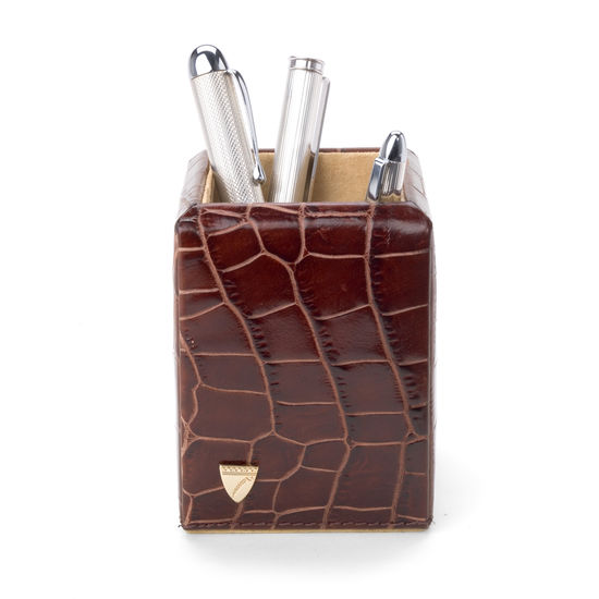 Chairman's Desk Set in Deep Shine Amazon Brown Croc & Stone Suede from Aspinal of London