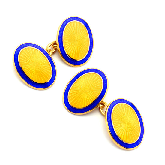 22ct Gold Plated & Enamel Faberge Style Cufflinks in Navy & Yellow from Aspinal of London