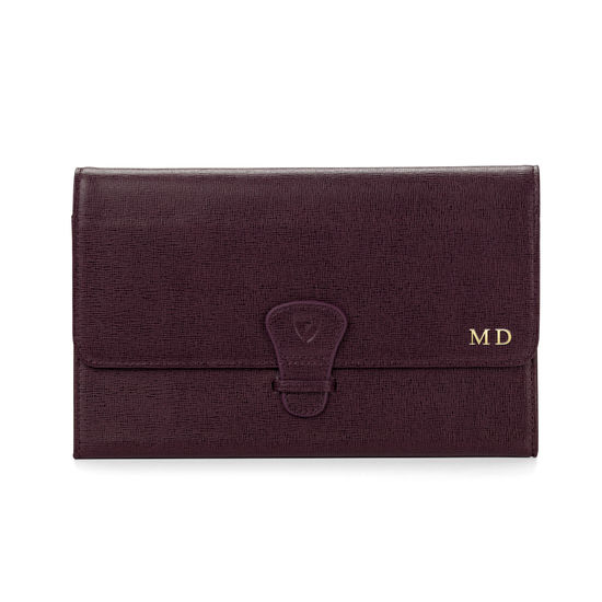 Classic Travel Wallet in Burgundy Saffiano & Navy Suede from Aspinal of London