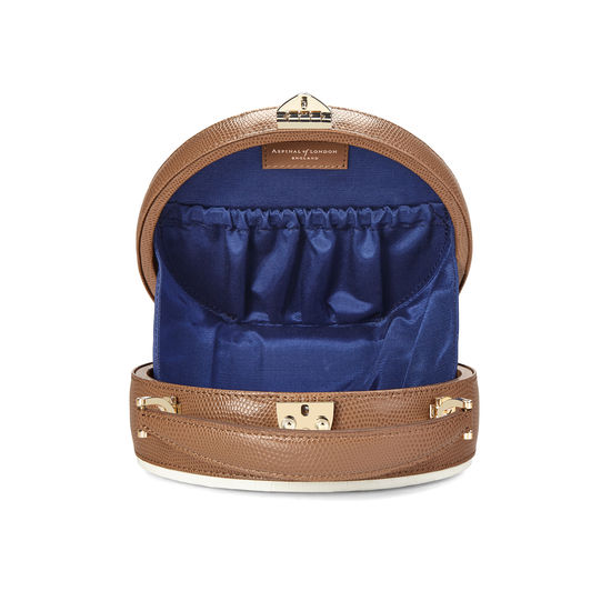 Hat Box in Deep Shine Ivory Small Croc & Camel Lizard from Aspinal of London