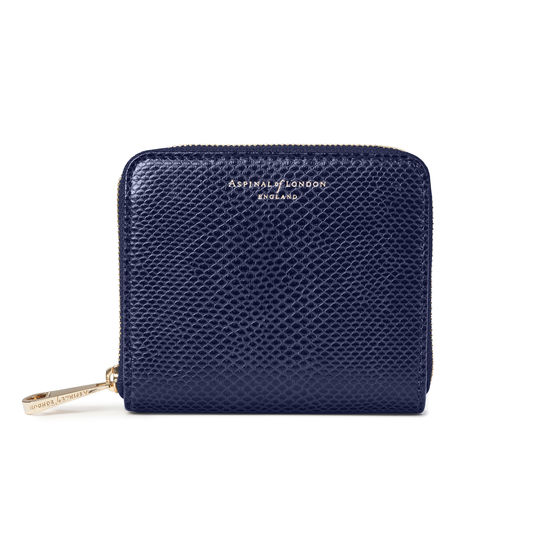 Slim Mini Continental Purse in Midnight Blue Lizard  from Aspinal of London